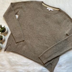 Velvet Cashmere Long Sleeve Sweater Top in Oatmeal